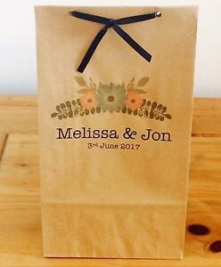 Personalised Paper Floral Favour Bags/ Wedding/Hen/Gift/Party & Ribbon