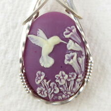Hummingbird Purple Cameo Pendant .925 Sterling Silver Jewelry Art Resin