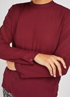 F&F Ladies Long Sleeve Blouse Top with rear metalic Exposed Zip Plum NEW ARRIVAL