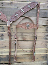 HEADSTALL BREASTCOLLAR COPPER CROSS TOOLED LEATHER PARADE HORSE WESTERN BRIDLE