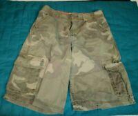 Arizona Boys Size 20 Camouflage Green Cargo Shorts Summer Adjustable Waist Camo