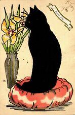 Katze (aus Filz), Blumenvase, Glückwunsch-AK, 1930