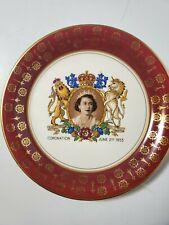 Royal Staffordshire Pottery Queen Elizabeth ll Coronation 1953 Plate Wilkinson