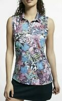 Nike Dri-FIT Women's Size Small Sleeveless Floral Golf Polo Top AJ5327-623