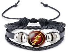 The Flash Glass Domed Logo on Braided Black Leather Bracelet