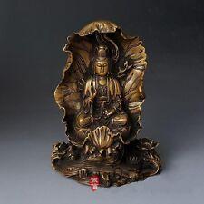 Chinese Buddhism Yellow Brass Seat Kwan-yin Guanyin Guan Yin Of Goddess Statue