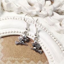 Orecchini Streghetta Witch Earrings Argento Cute Befana Vintage Hipster Regalo