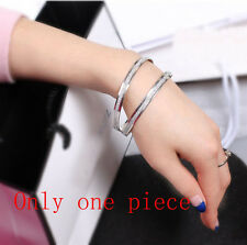 1pc Fashion Women Scrub Stainless Steel Wristband Bangle Bracelet Silver Jewelry