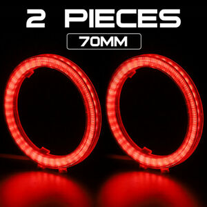 70mm Universal DRL COB LED Angel Eyes Halo Ring Headlight Light Red/White/Blue