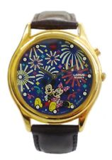 Lorus' Disney Musical Watch w/ Mickey & Minnie/Brown Leather Band