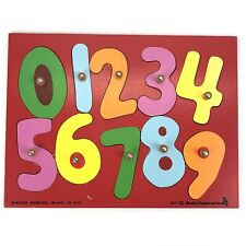 Vintage 1977 Judy Instructo Wooden Puzzle Colors Numbers 10 Piece Metal Knobs
