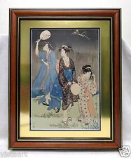 Very Detailed Signed Oriental Women Print? w. Black & Gold Antique Style Frame