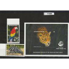 GRENADA- GRENADINE 1992 FAUNA  ANIMALI PROTETTI 2 VAL + 1 BF MNH MF71466