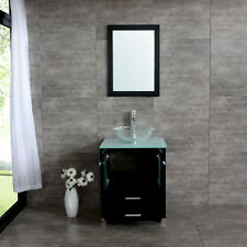 Single Glass Vessel Sink Wood Bathroom Cabinet Mirror Tempered Glass Countertop