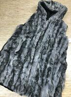 G-151 Via Spiga Faux fur reversible jacket coat BLACK GREY size XL defect