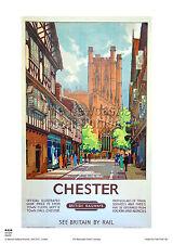 Chester Cheshire de estilo vintage y retro cartel de viaje de vacaciones de arte publicitario de ferrocarril