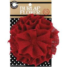 Canvas Corp   Burlap  Flower  RED  4 Inch  Holidays, Cards, Decorations