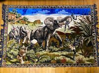 "Vintage Velvet Tapestry Rug Wall Hanging Elephant Hunt Very Large 46"" x 70"""