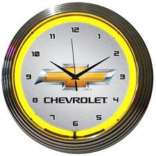 Genuine Chevy Chevrolet yellow 2017 Bowtie neon clock sign garage lamp
