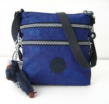 NWT Kipling Alvar XS Patent Cross-Body Bag With Furry Monkey Midnight Rustic