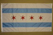 City of Chicago Sewn Stripes Stars Indoor Outdoor Nylon Flag Grommets 3' X 5'