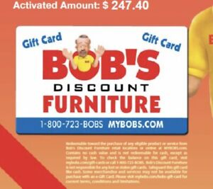 Bobs discount Furniture Gift Card $247.40 FREE SHIPPING