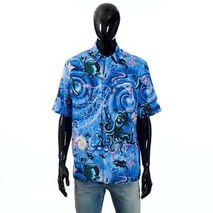 DIOR x KENNY SCHARF 1750$ Short-Sleeve Shirt Oblique Cotton/Silk Jacquard