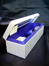 "VALENTINE GIFT 11"" Silver Dipped Real Rose in Silver Egyptian Casket Blue Satin"