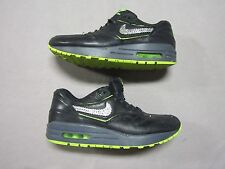 NIKE AIR MAX 1 PREMIUM BLACK LEATHER CUSTOM CRYSTALS SHOES SIZE 7 #644398-002