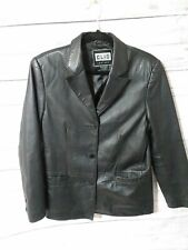 CLIO LEATHER Womens Black Leather Jacket Coat 3 button Lined Size small Pockets