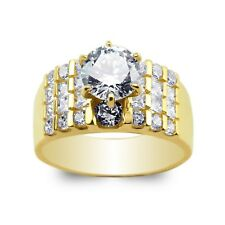 JamesJenny Ladies 10K/14K Yellow Gold Round CZ Set Wide Band Ring Size 5-10