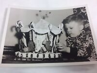 Vintage Photo Boy Homemade Gingerbread Animal Carousel Candy Canes Christmas 50s