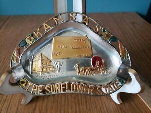 Vintage KANSAS Metal Ashtray-- Sunflower State Topeka Salina Wichita Dodge City