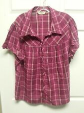 ST JOHN'S BAY Woman Top Size XX Pink Plaid Button Down Front Gather At Bust Plus
