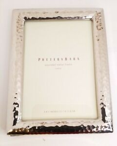 """Pottery Barn Rectangle Pounded Metal 5"""" X 7"""" inches Picture Frame Chrome Finish"""