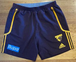 Hawthorn Hawks AFL Adidas Player Issue Training Walk Shorts Three-peat era - L