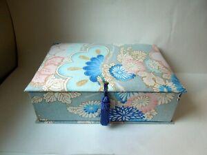 "Waverly Fabric Box Japonesque Blue Pink Rectangular 12 5/8"" x 9 1/4"" x 4"""