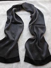 100% silk Double sided Dot long scarf  Men's Elegant  Fashion black with white
