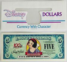 One 2002 Disney Dollar $5 Bill ~ Snow White ~ Low 6-digit #A00281006A ~ UNC