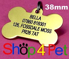 Dog ID Tag 38mm Aluminium Dog Bone PET Tags Engraved Free Blackened Engraving