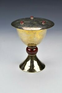 French Charet Paris Sterling Silver and Enamel Chalice and Paten