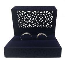 Hollow Royal Blue Velvet Ring Box - Couple Double Ring Bearer Box for Wedding