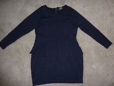 Marks and Spencer Limited Collection size 18 navy peplum dress, long sleeved