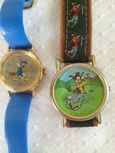 VINTAGE DONALD DUCK HAPPY BIRTHDAY AND GOLFING GOOFY WATCH - LOT OF 2