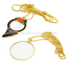 Decorative Pendant Magnifier Gold Tone Necklace Magnifying Glass 5x, 3x Chain