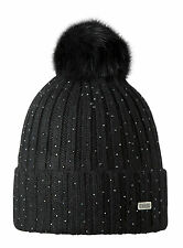 NEW BARTS SPLENDOR BLACK ADULT BEANIE FAUX FUR POM HAT 19060 WOMEN'S LADY JUMP