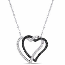 Amour 10KW Black and White Diamond Interlaced Heart Necklace