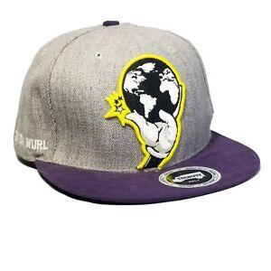 "Trukfit ""Truk Da Wurl"" Strapback Adjustable Hat Gray, Yellow, Purple, Cap"