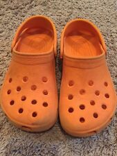 exc Crocs Orange Classic Cayman Unisex Clogs Shoes Boys J 1 W 3 J1W3