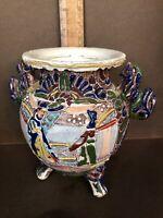 Japanese Satsuma Moriage Style Vase, Foo Dog Handles,Three Footed